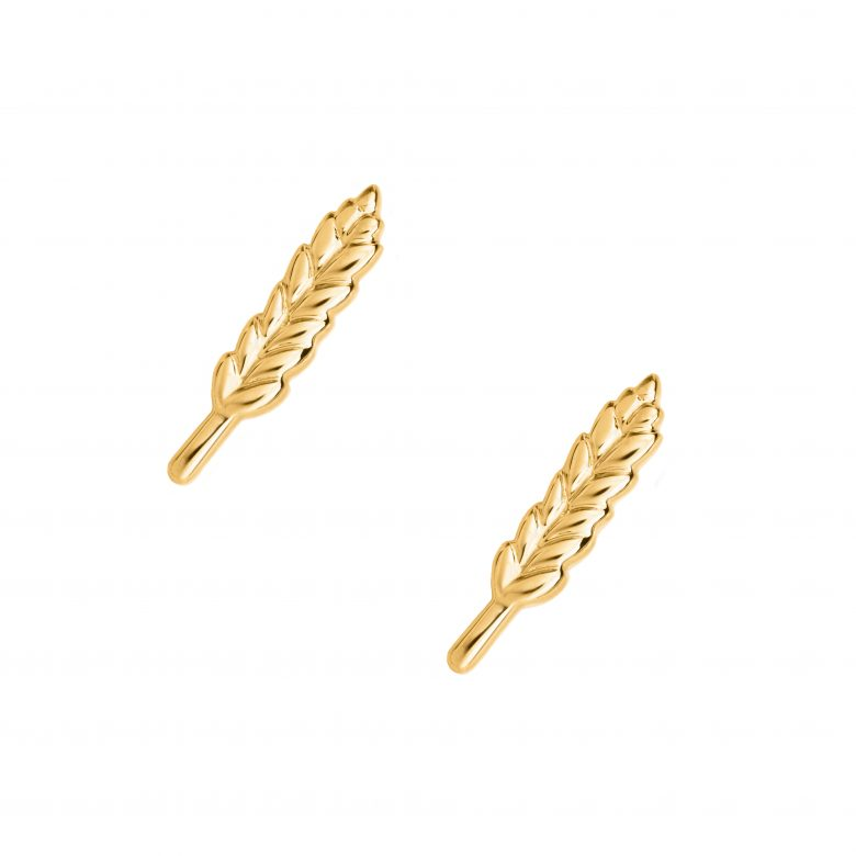Wheat Earrings, Yellow Gold Plated