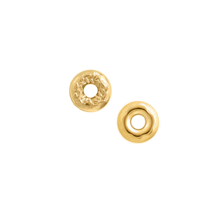 Sprinkle and Glaze Doughnut Earring Set, Yellow Gold Plated