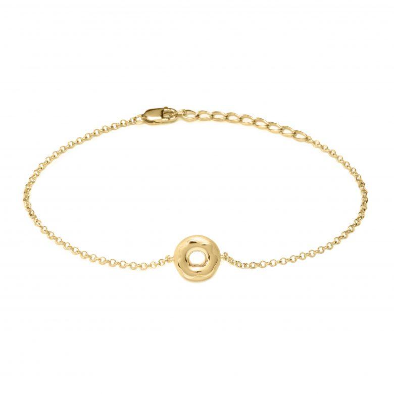 Glazed Doughnut Bracelet, Yellow Plated Gold