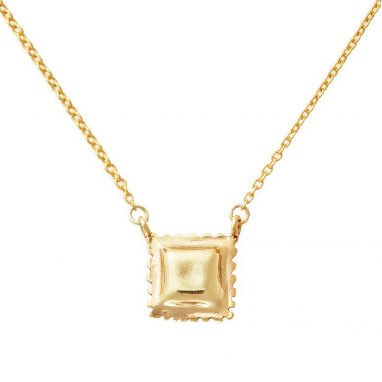 Ravioli Necklace, Mini Size, Yellow Gold Plated