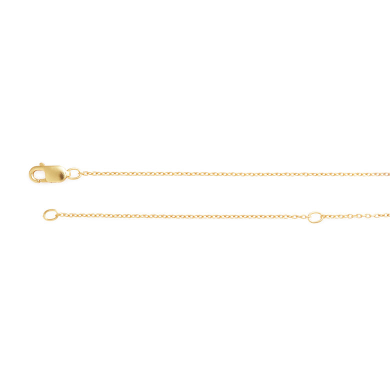 """16-18"""" Adjustable Yellow Gold Plated Cable Chain"""