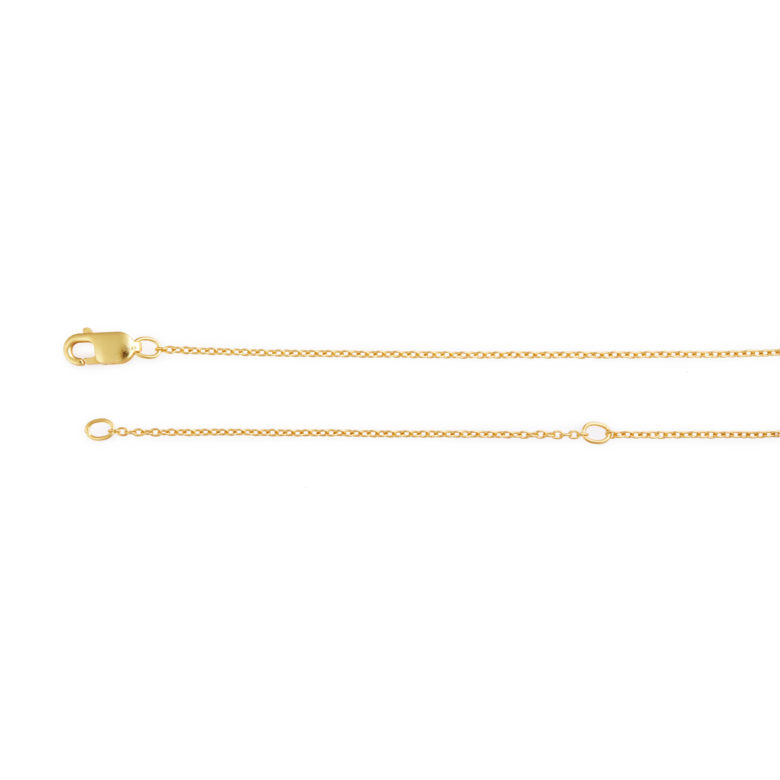 """18-20"""" Adjustable Yellow Gold Plated Rolo Chain"""