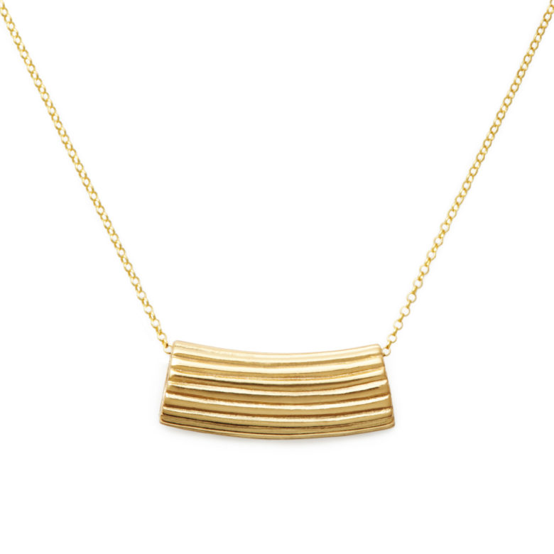Rigatoni Necklace, Yellow Gold Plated