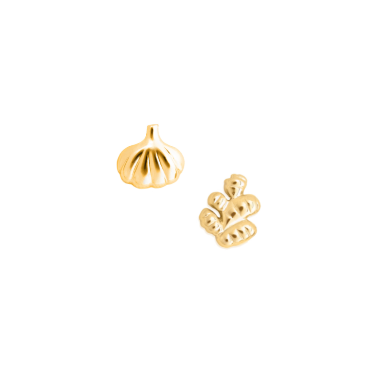Chinese Food Earring Set, Yellow Gold Plated